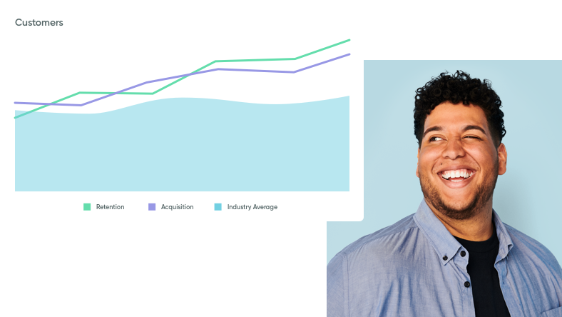 A young man looking toward a graph that illustrates customer retention.